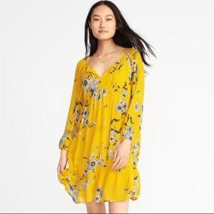 Old Navy Empire Boho Yellow Floral Dress Tassel L